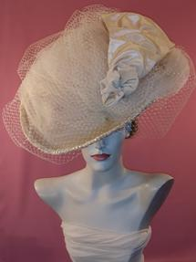 Kentucky Derby hat, Millinery, Franklin Park Conservatory Hat Day, Royal Wedding hat, Wedding hat, Church Hat, Model hat, fascinator, exquisite large ivory hat