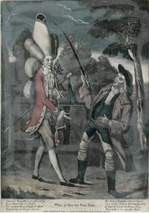 Caricature from 1774 depicting a gentleman with a very tall powdered wig topped with a tricorne hat