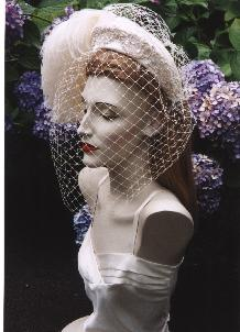 bridal headpiece ostrich plume millinery veiling